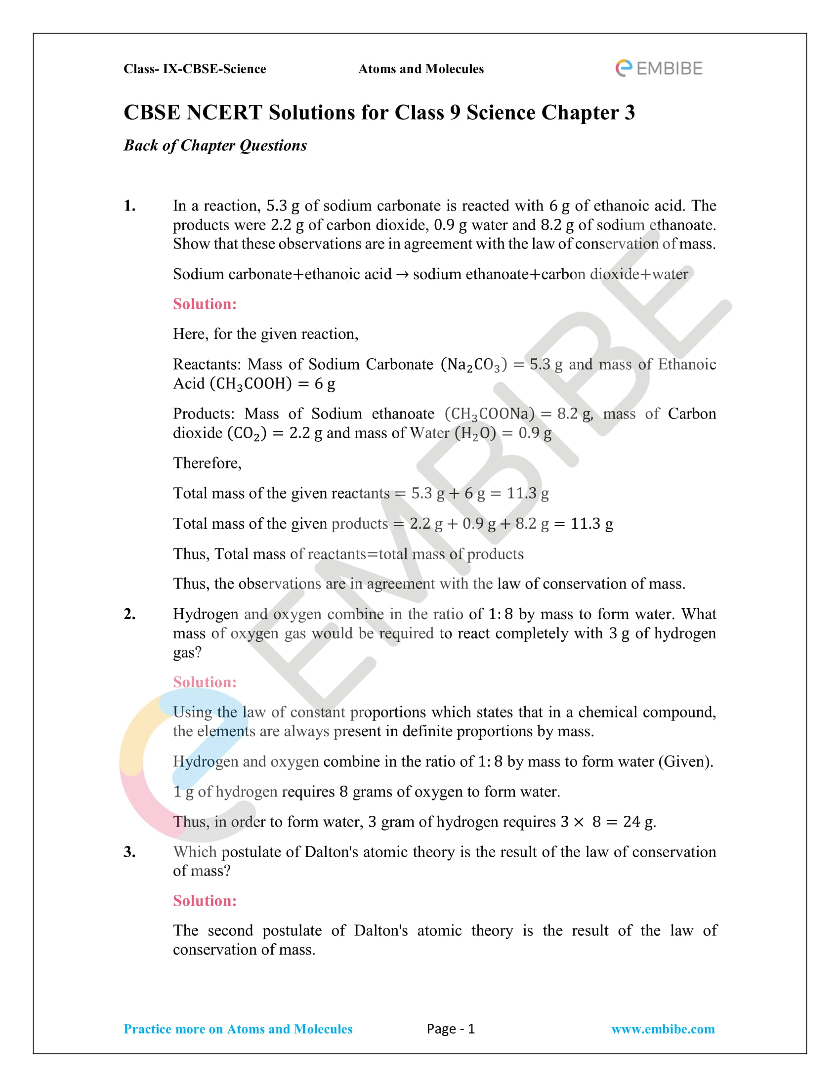 CBSE NCERT Solutions for Class 9 Science Chapter 3: Atoms