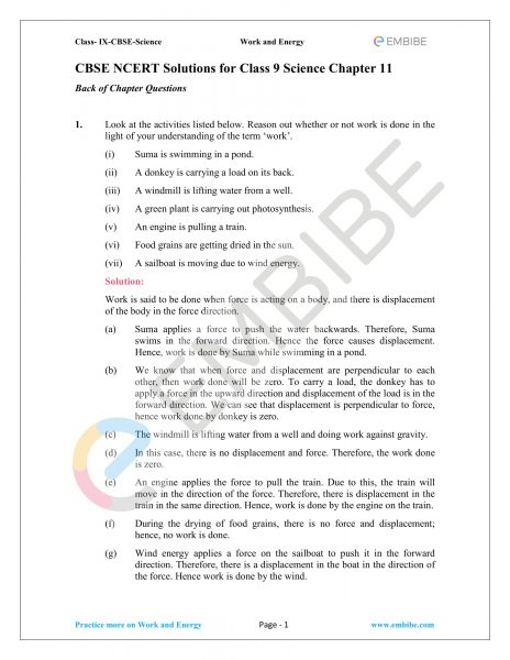 NCERT Solutions for Class 9 Science Chapter 11: Work And Energy (PDF Download)