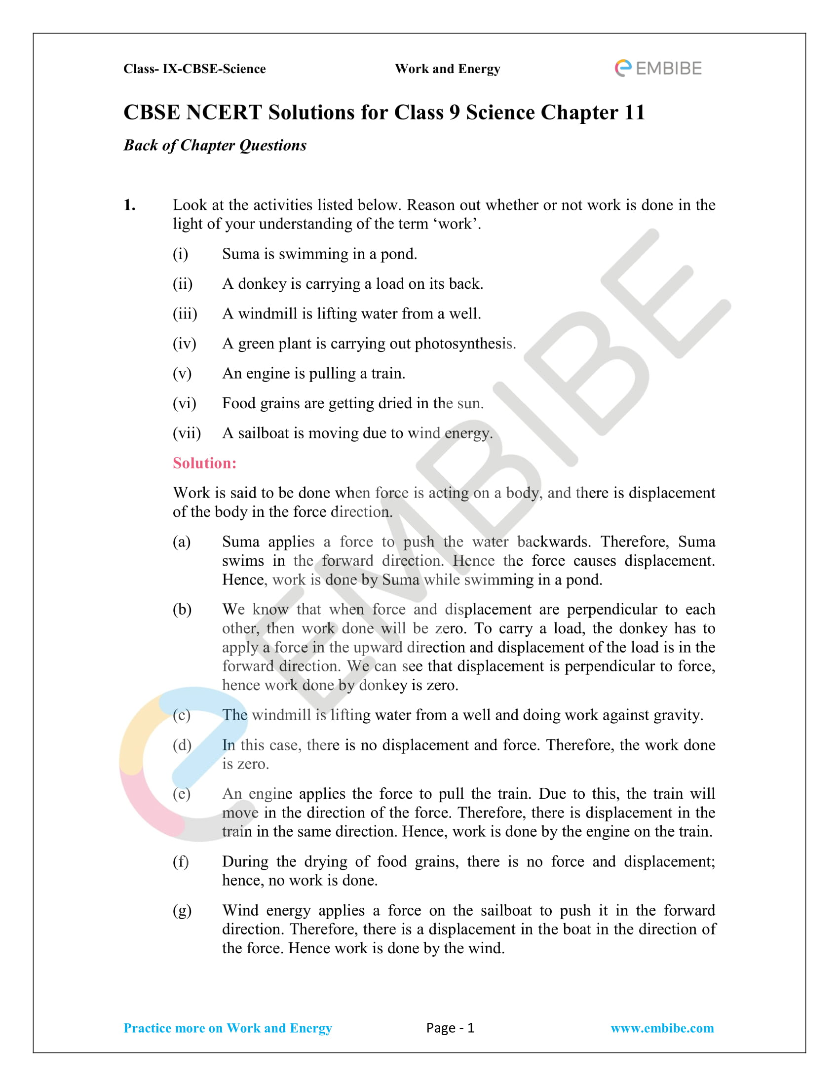 CBSE NCERT Solutions For Class 9 Science Chapter 11 – Work And Energy - 1