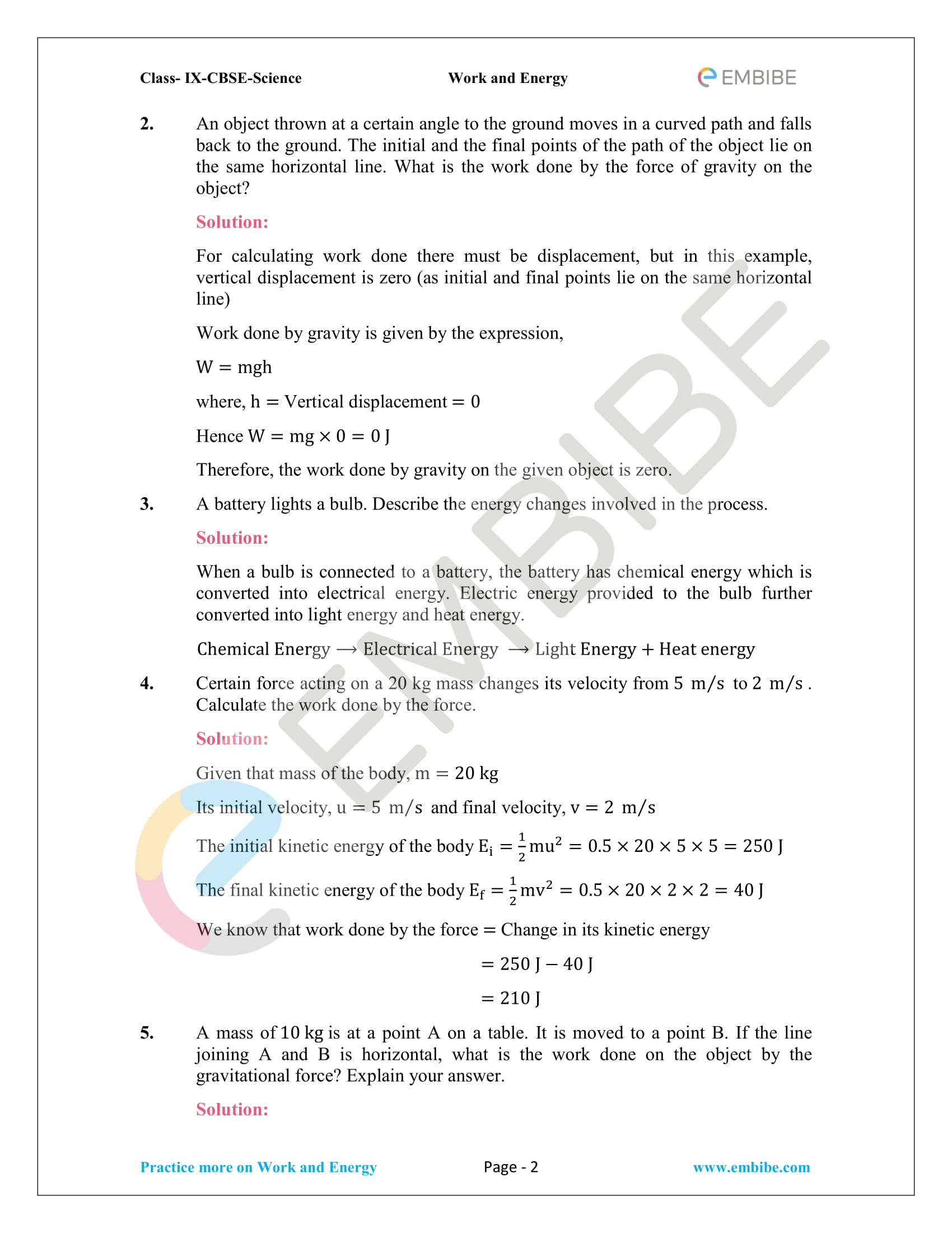CBSE NCERT Solutions For Class 9 Science Chapter 11 – Work And Energy - 2