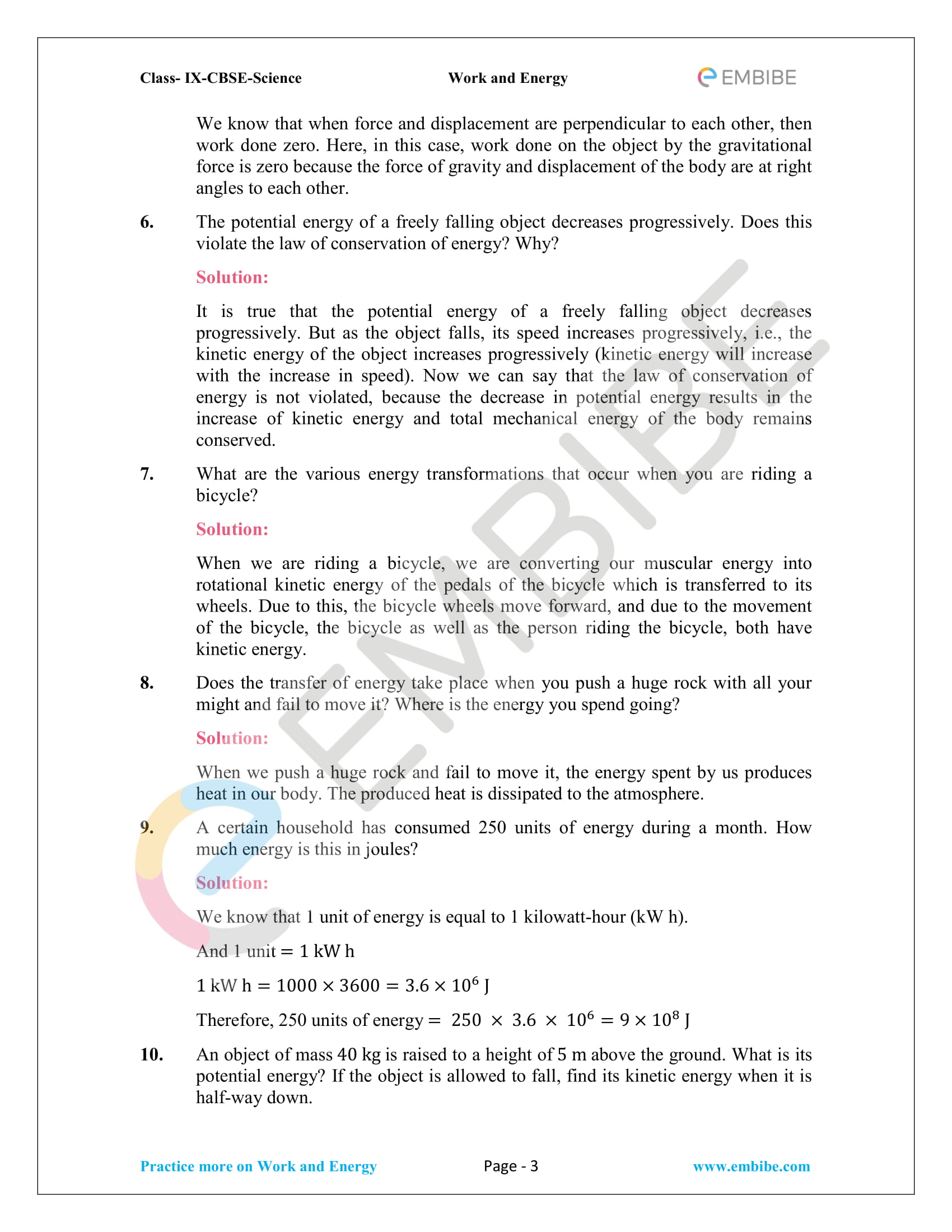 CBSE NCERT Solutions For Class 9 Science Chapter 11 – Work And Energy - 3