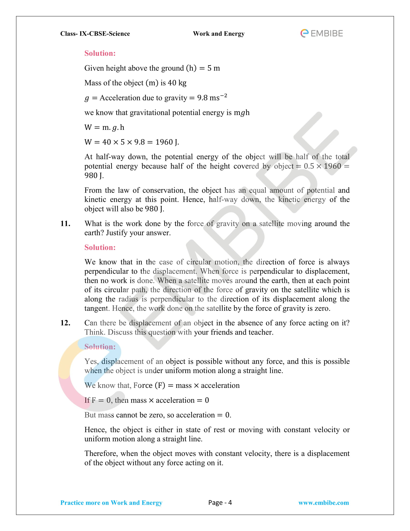 CBSE NCERT Solutions For Class 9 Science Chapter 11 – Work And Energy - 4