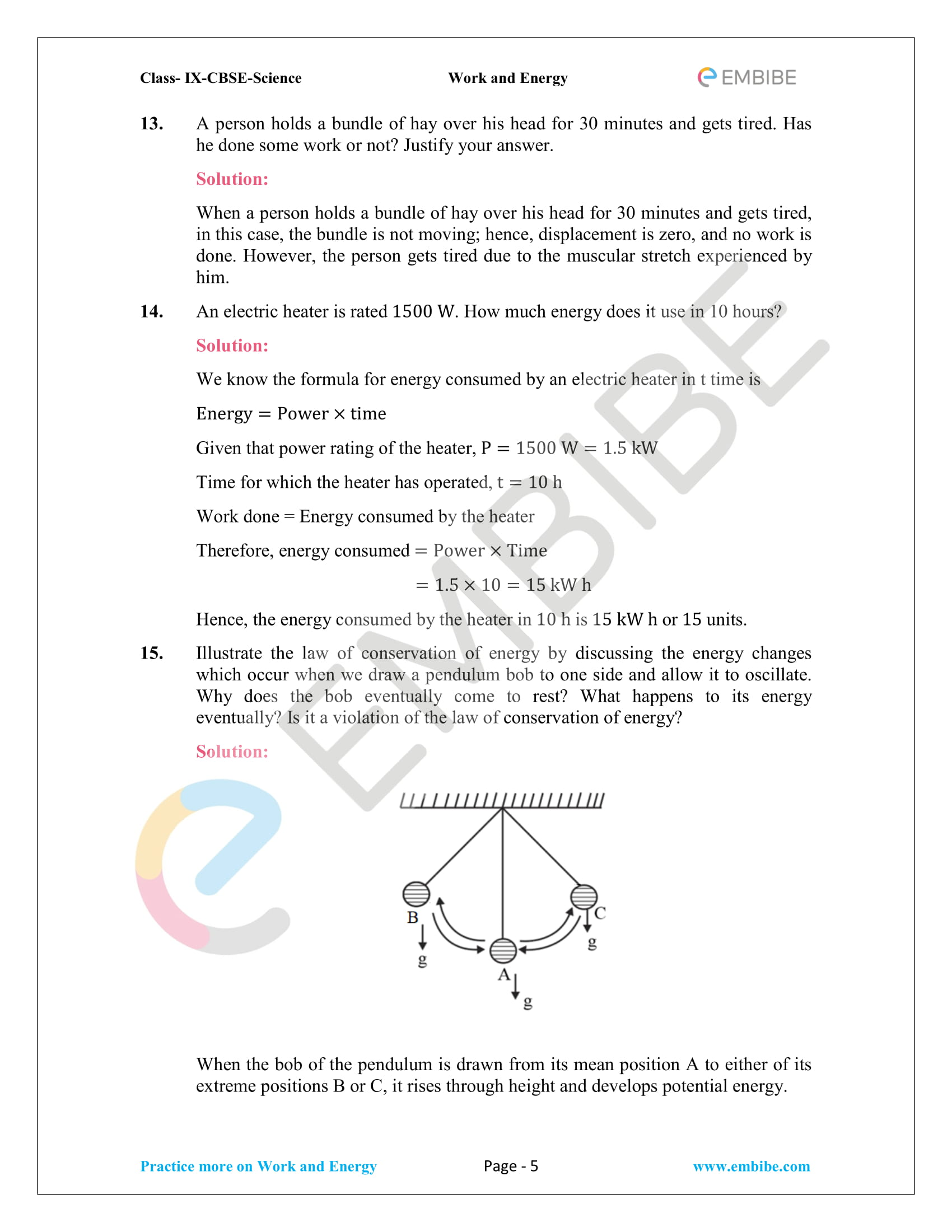 CBSE NCERT Solutions For Class 9 Science Chapter 11 – Work And Energy - 5