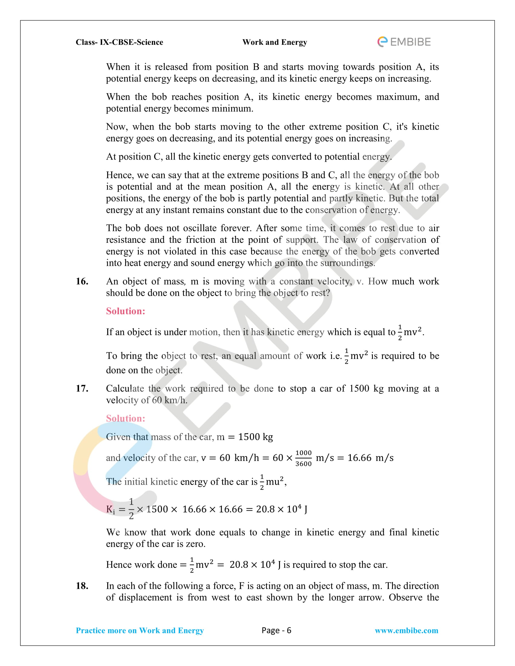 CBSE NCERT Solutions For Class 9 Science Chapter 11 – Work And Energy - 6