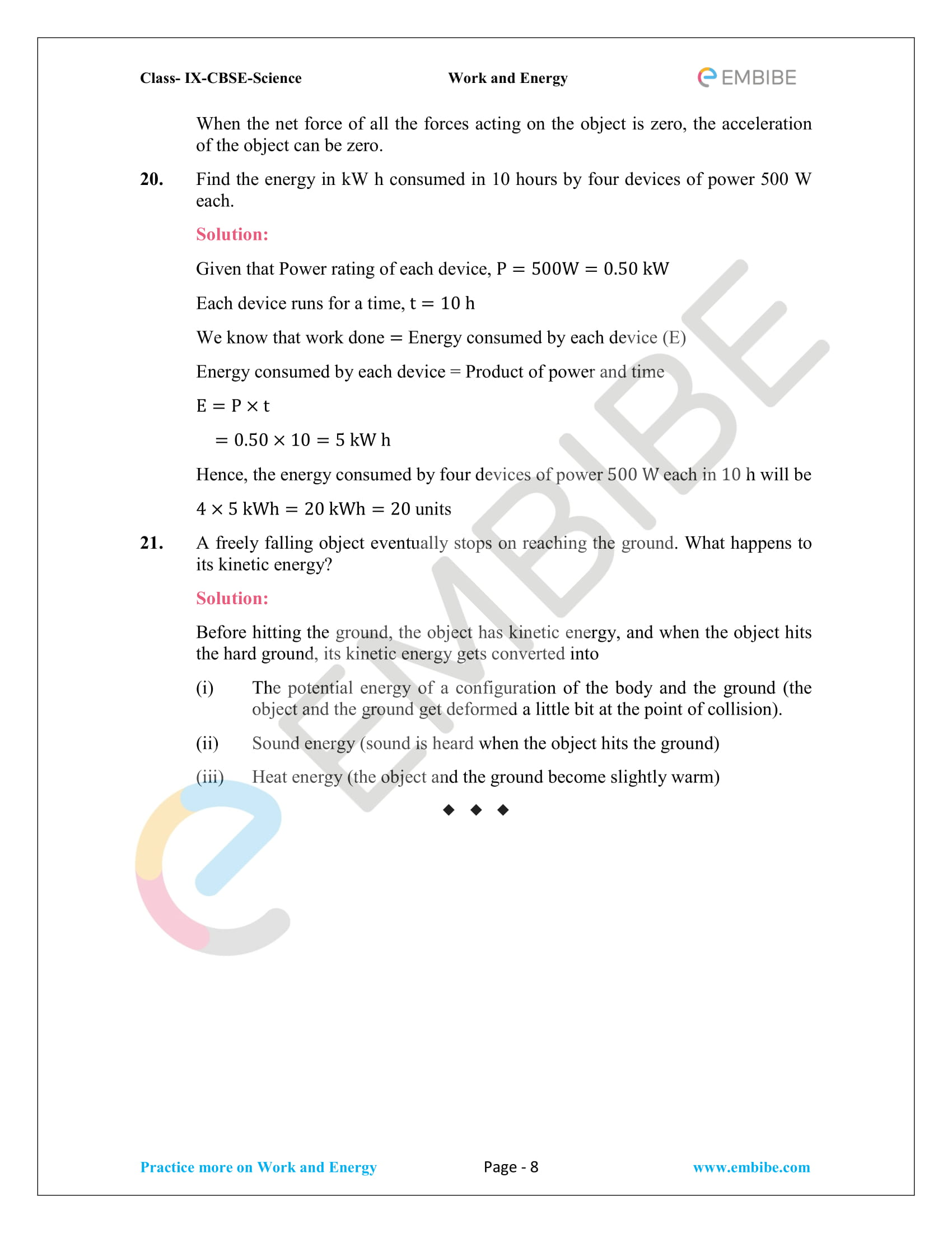 CBSE NCERT Solutions For Class 9 Science Chapter 11 – Work And Energy - 8
