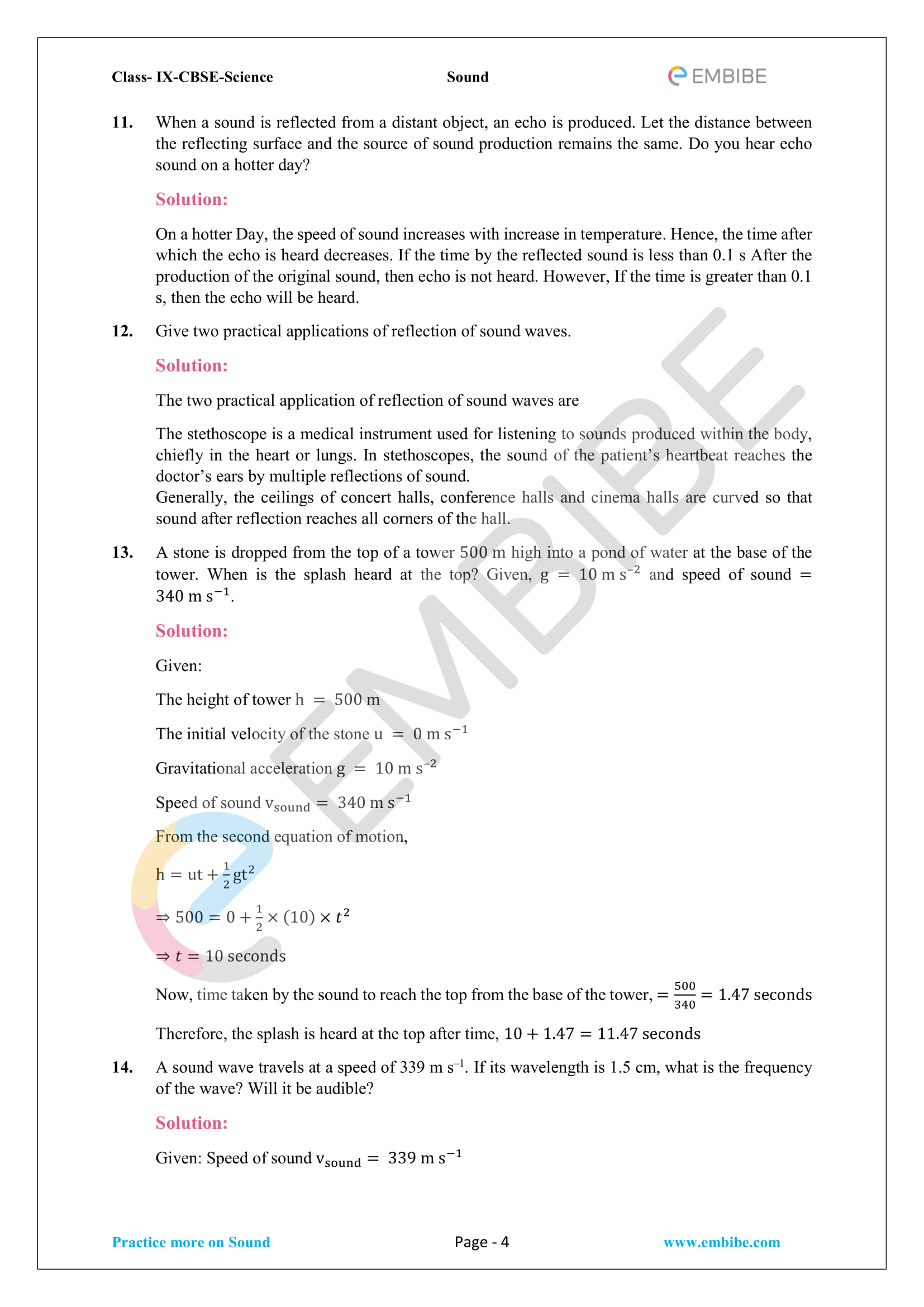 CBSE NCERT Solutions For Class 9 Science Chapter 12 - Sound - 4