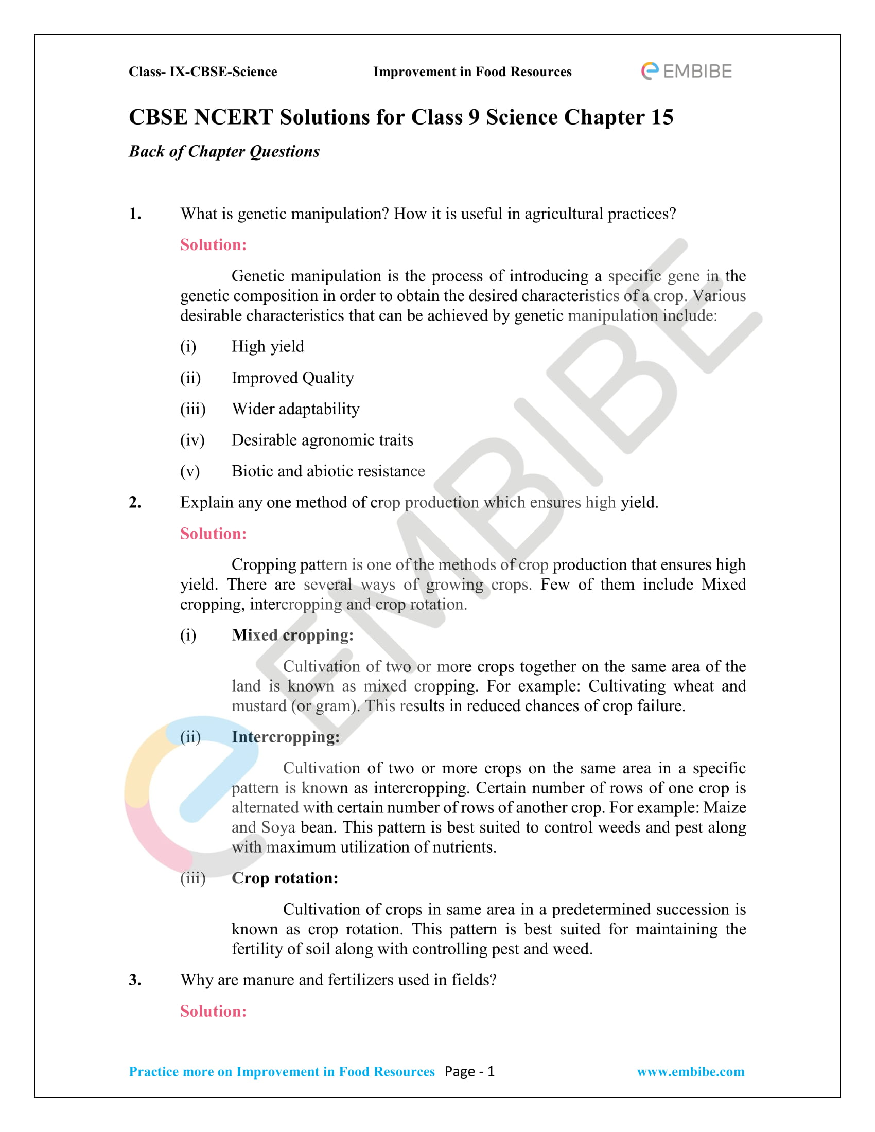 CBSE NCERT Solutions for Class 9 Science Chapter 15-1