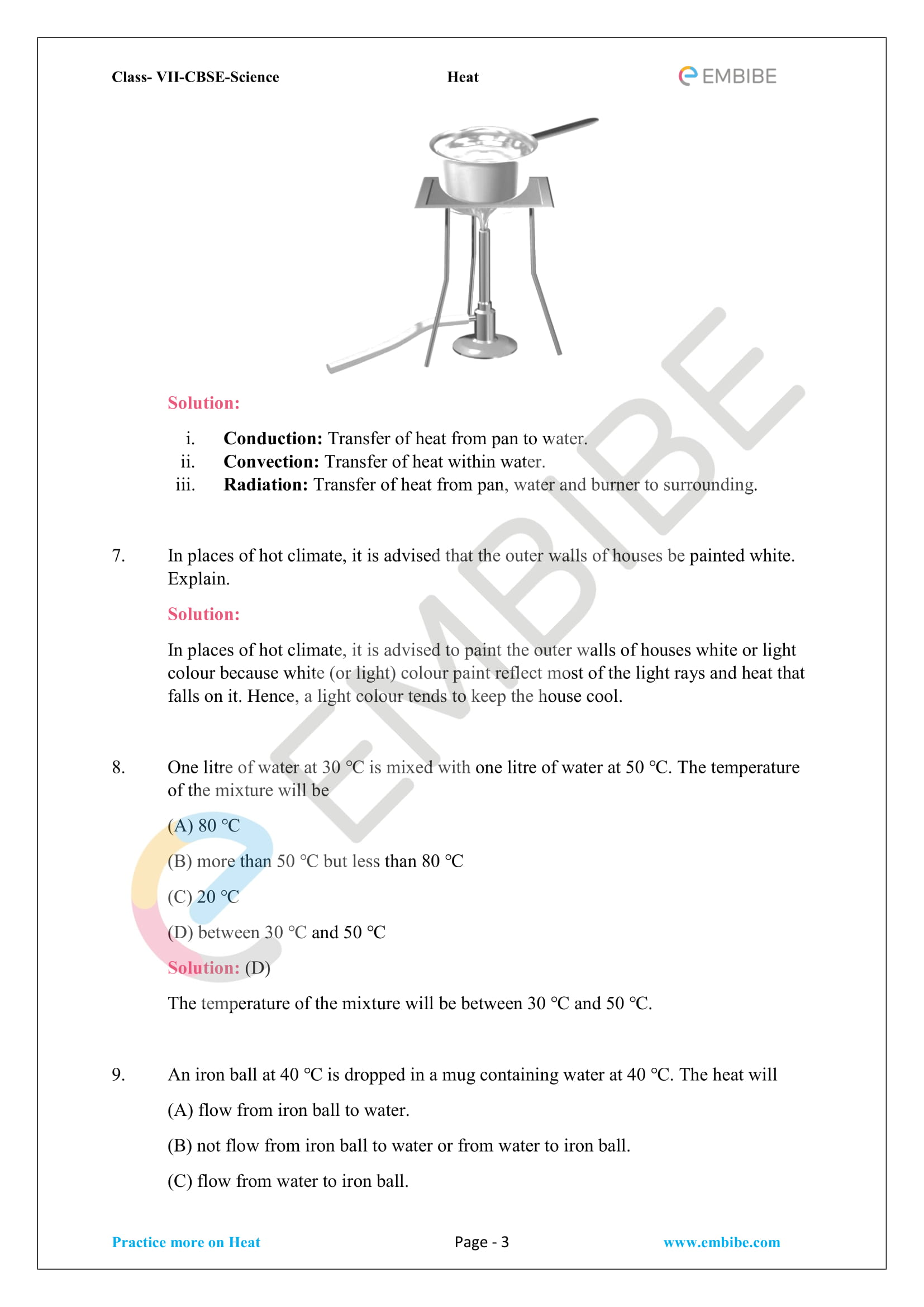 CBSE NCERT Solutions for Class 7 Science Chapter 4 Heat