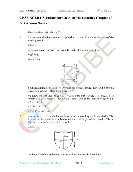 CBSE NCERT Solutions For Class 10 Maths Chapter 13
