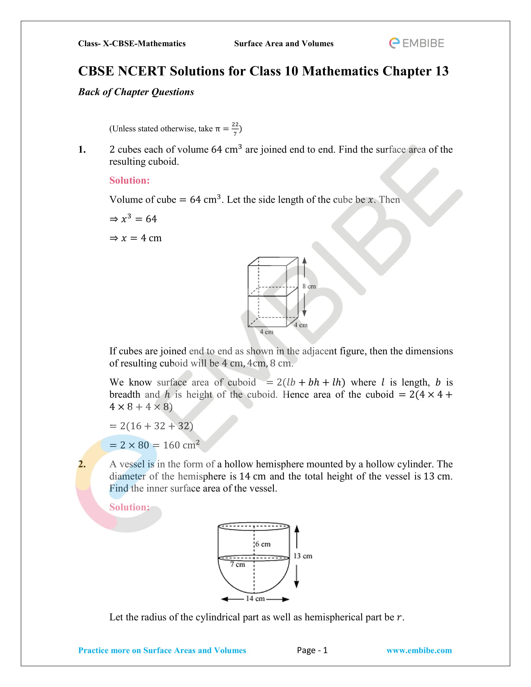NCERT Solutions For Class 10 Maths Chapter 13: Surface Areas And
