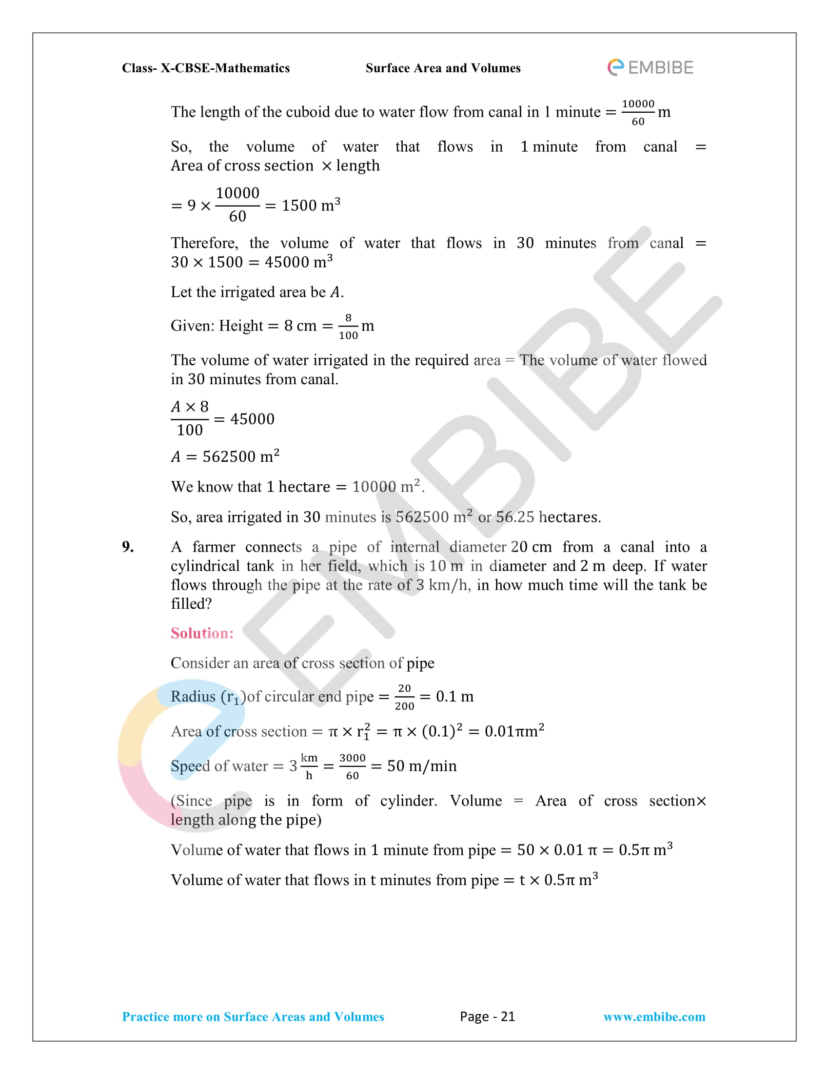 NCERT Solutions For Class 10 Maths Chapter 13: Surface Areas
