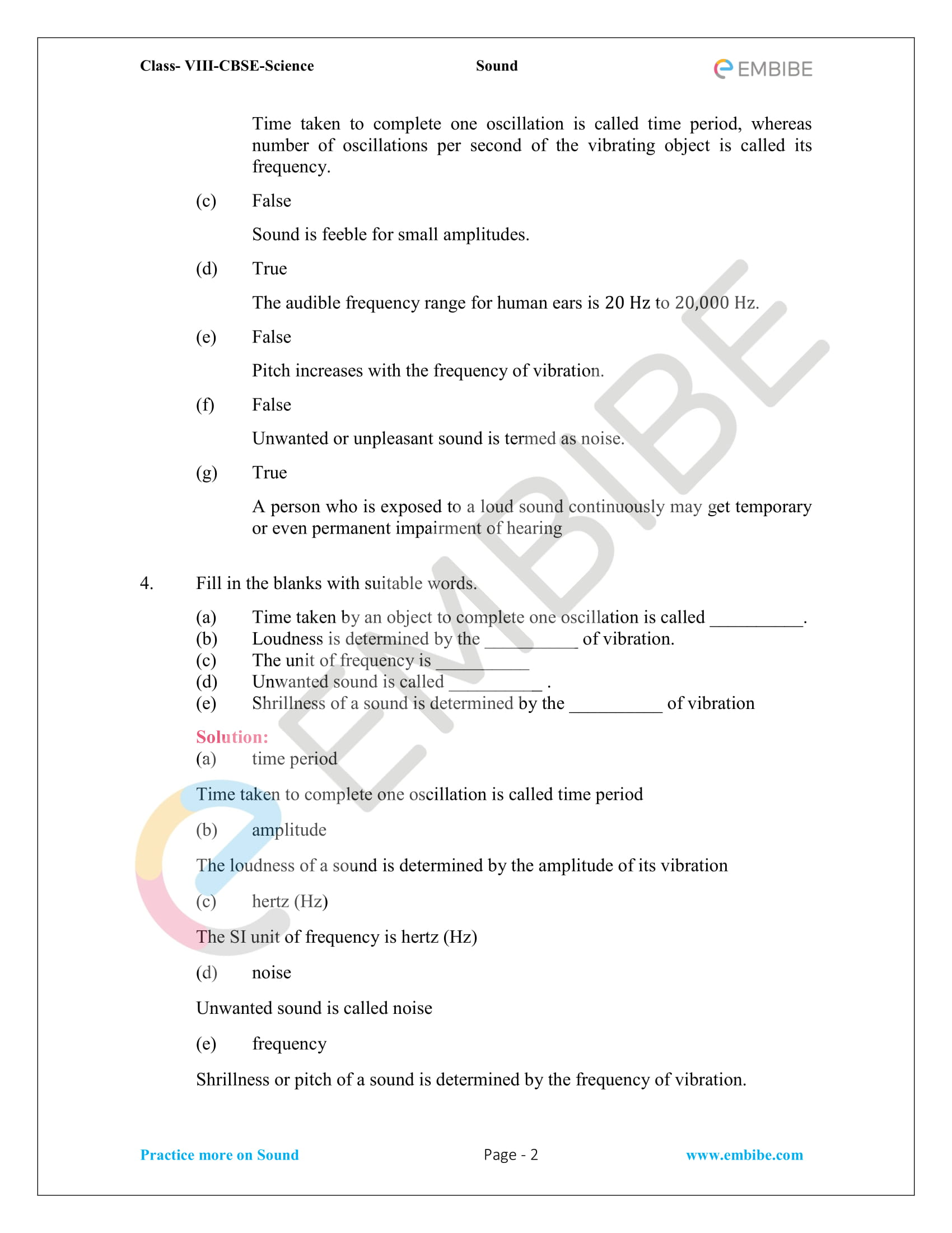 NCERT Solutions For Class 8 Science Chapter 13: Sound (Free