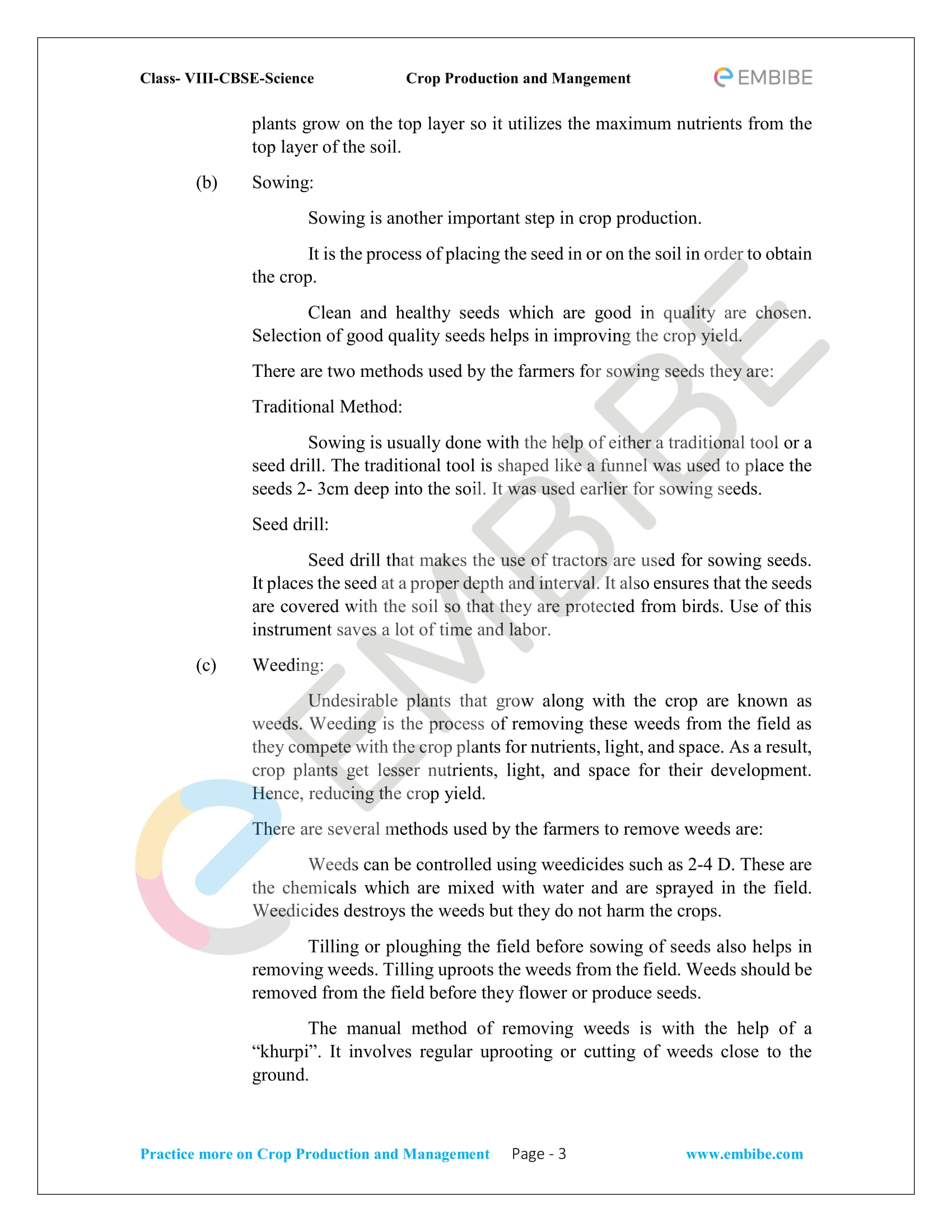 NCERT Solutions For Class 8 Science Chapter 1: Crop