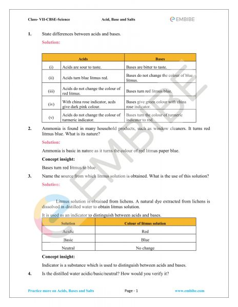 NCERT Solutions For Class 7 Science Chapter 5 PDF: Acids, Bases And Salts Class 7 NCERT Solutions
