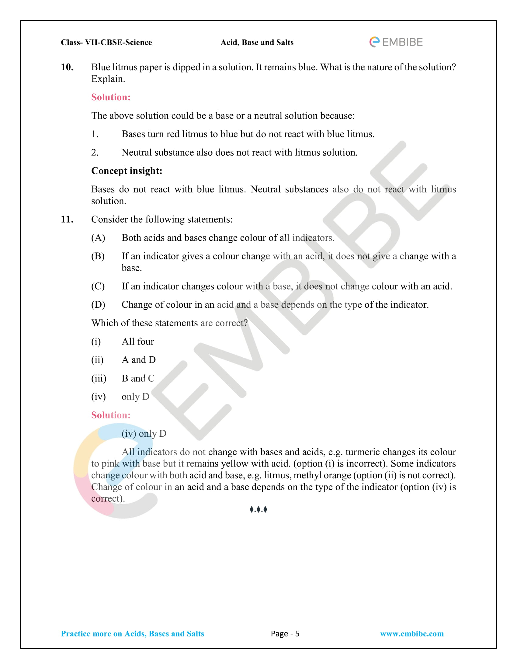 NCERT Solutions For Class 7 Science Chapter 5 PDF: Acids