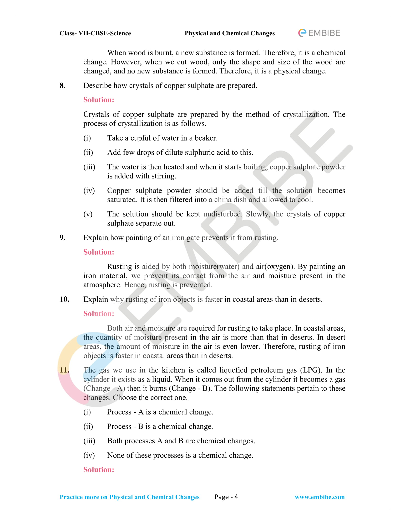 CBSE NCERT Solutions for Class 7 Science Chapter 6 - Physical and Chemical Changes