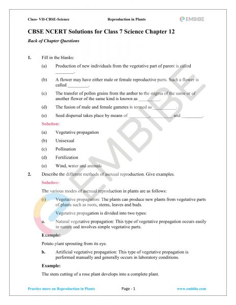 CBSE NCERT Solutions For Class 7 Science Chapter 12: Reproduction In Plants (PDF Download)