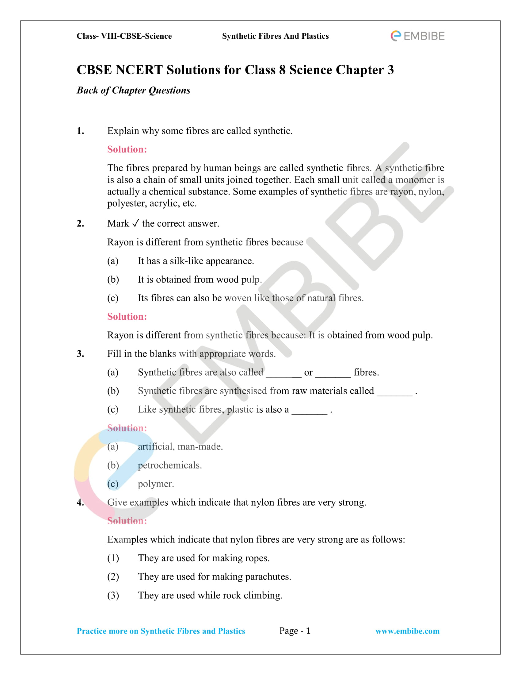 NCERT Solutions For Class 8 Science Chapter 3 PDF: Synthetic