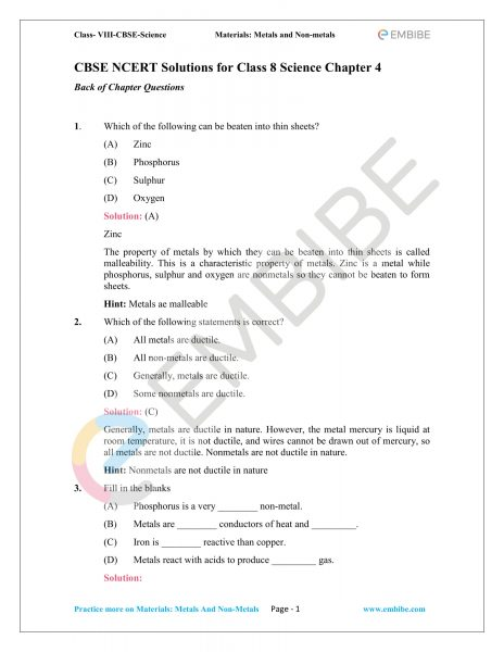 CBSE NCERT Solutions For Class 8 Science Chapter 4 PDF Download