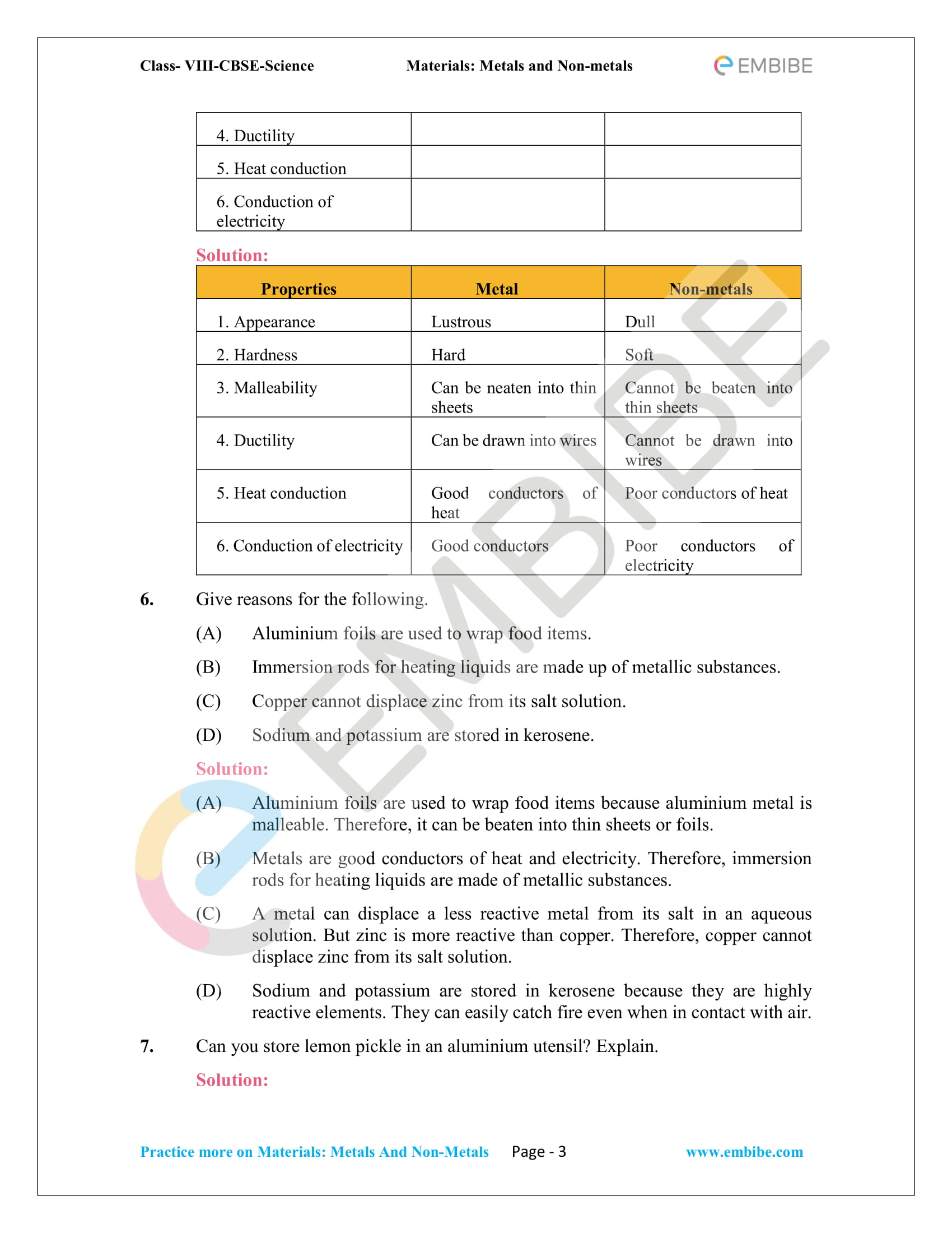 NCERT Solutions For Class 8 Science Chapter 4 PDF: Materials