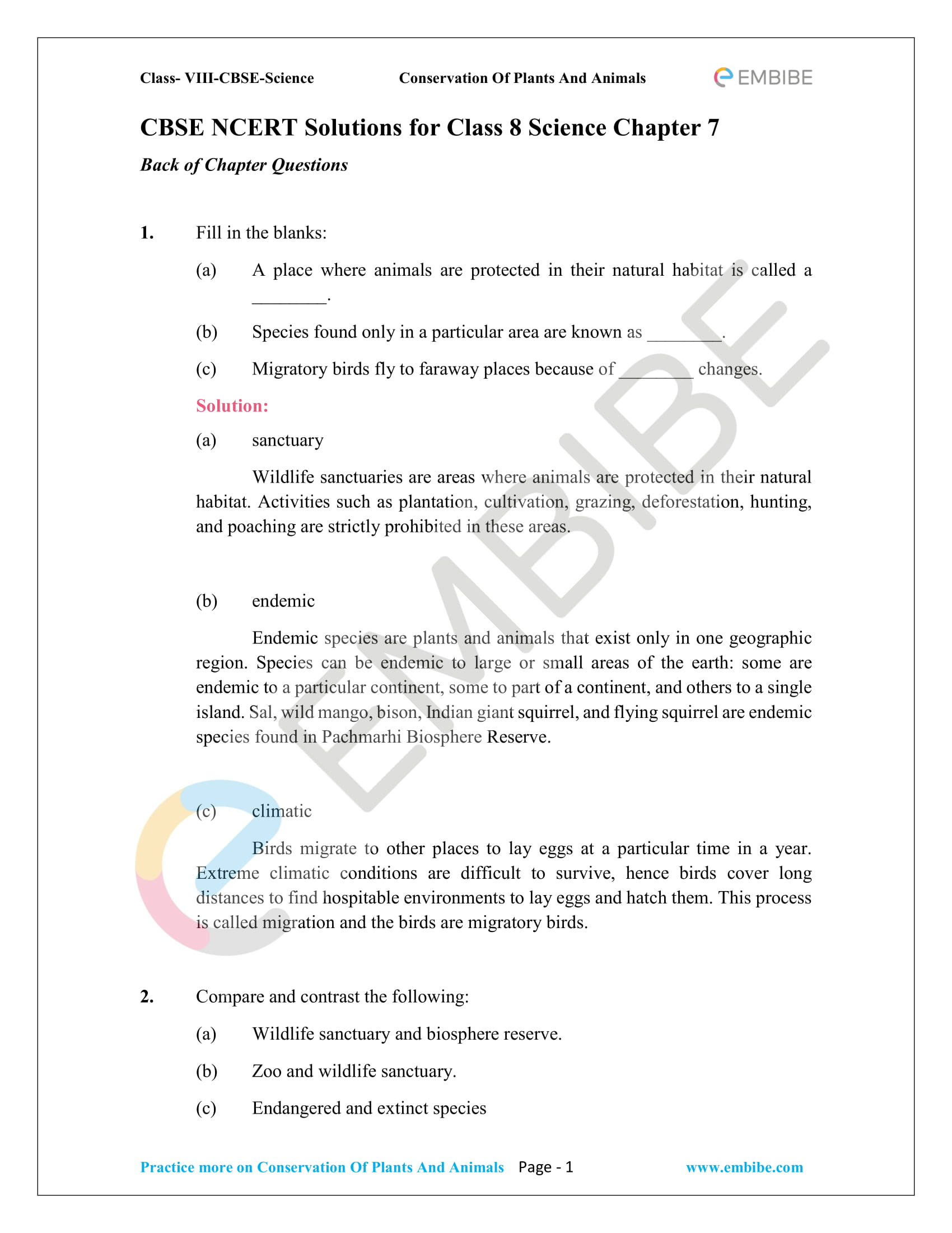 NCERT Solutions For Class 8 Science Chapter 7: Conservation