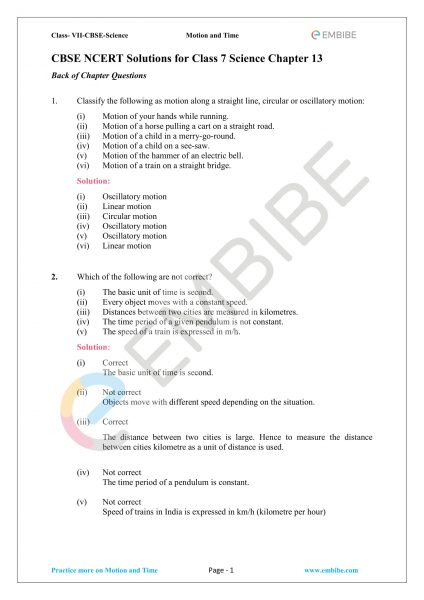 NCERT Solutions For Class 7 Science Chapter 13: Motion And Time (PDF Download)