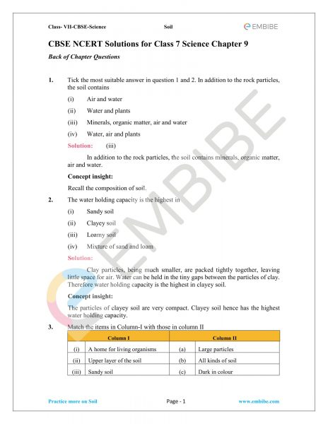 NCERT Solutions For Class 7 Science Chapter 9: Soil (PDF Download)