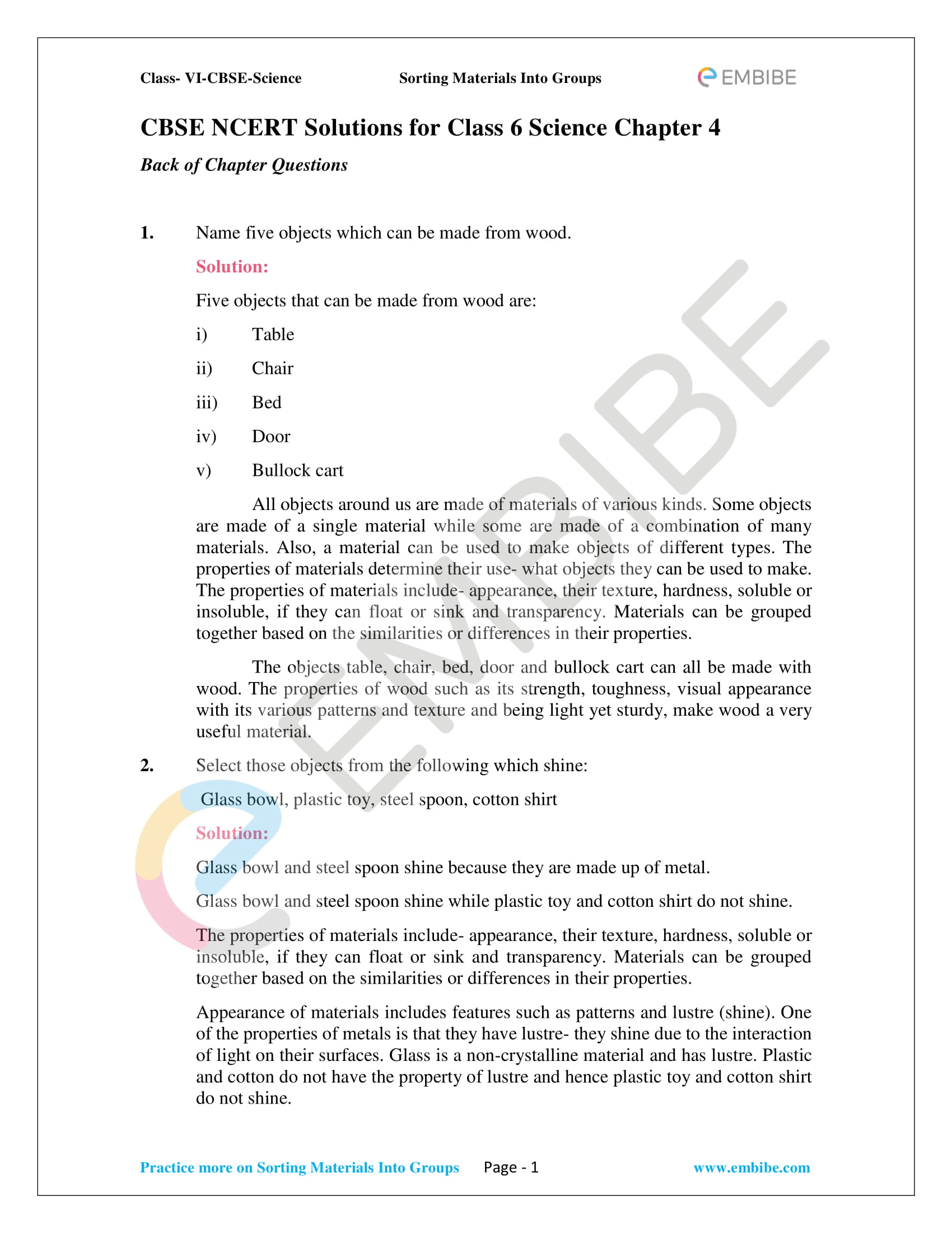 NCERT Solutions For Class 6 Science Chapter 4 - Sorting Materials Into Groups PDF - 1