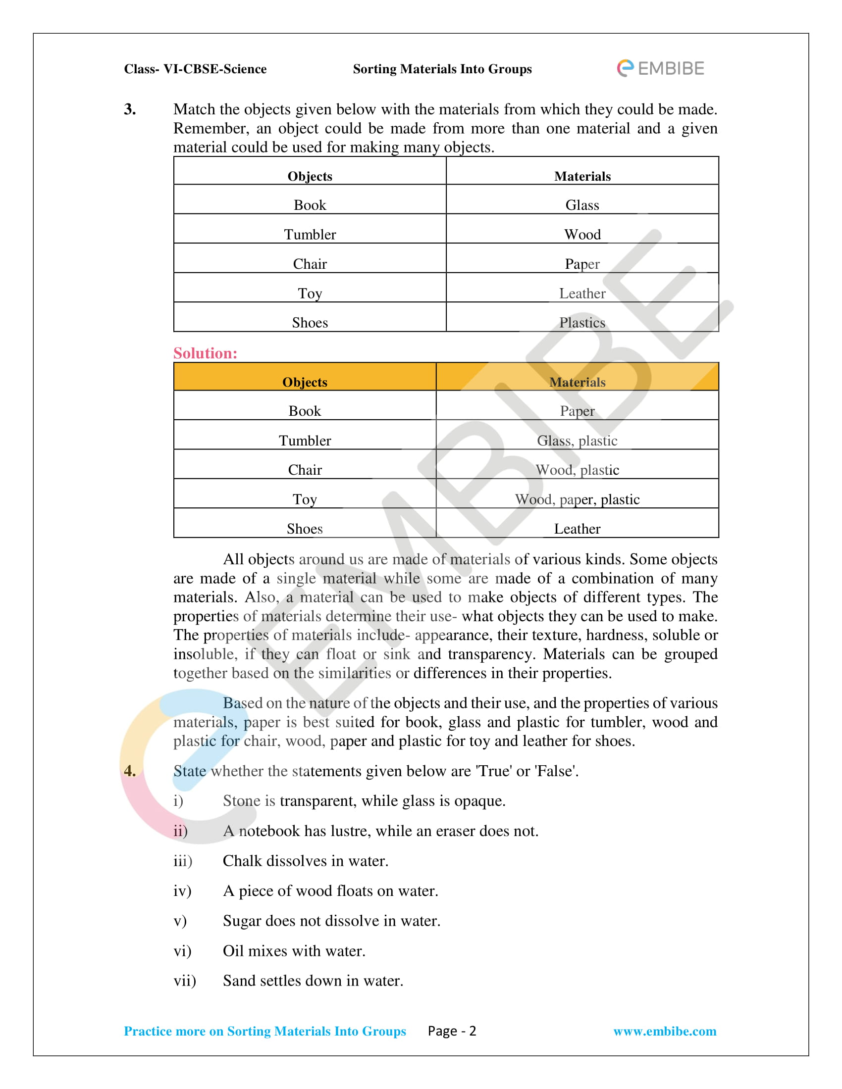NCERT Solutions For Class 6 Science Chapter 4 - Sorting Materials Into Groups PDF - 2