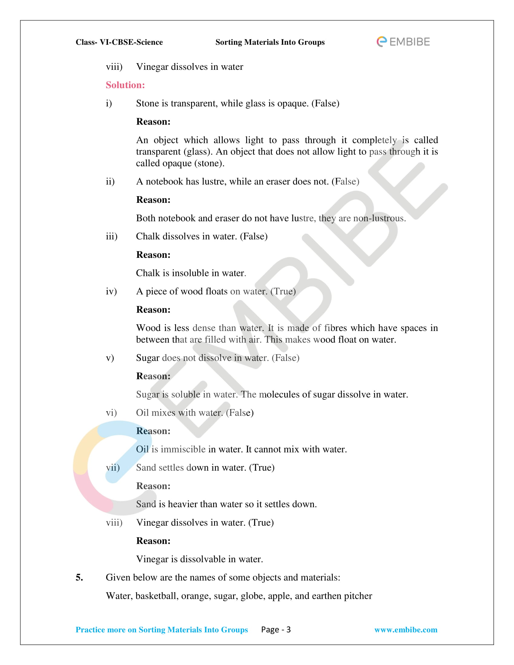NCERT Solutions For Class 6 Science Chapter 4 - Sorting Materials Into Groups PDF - 3