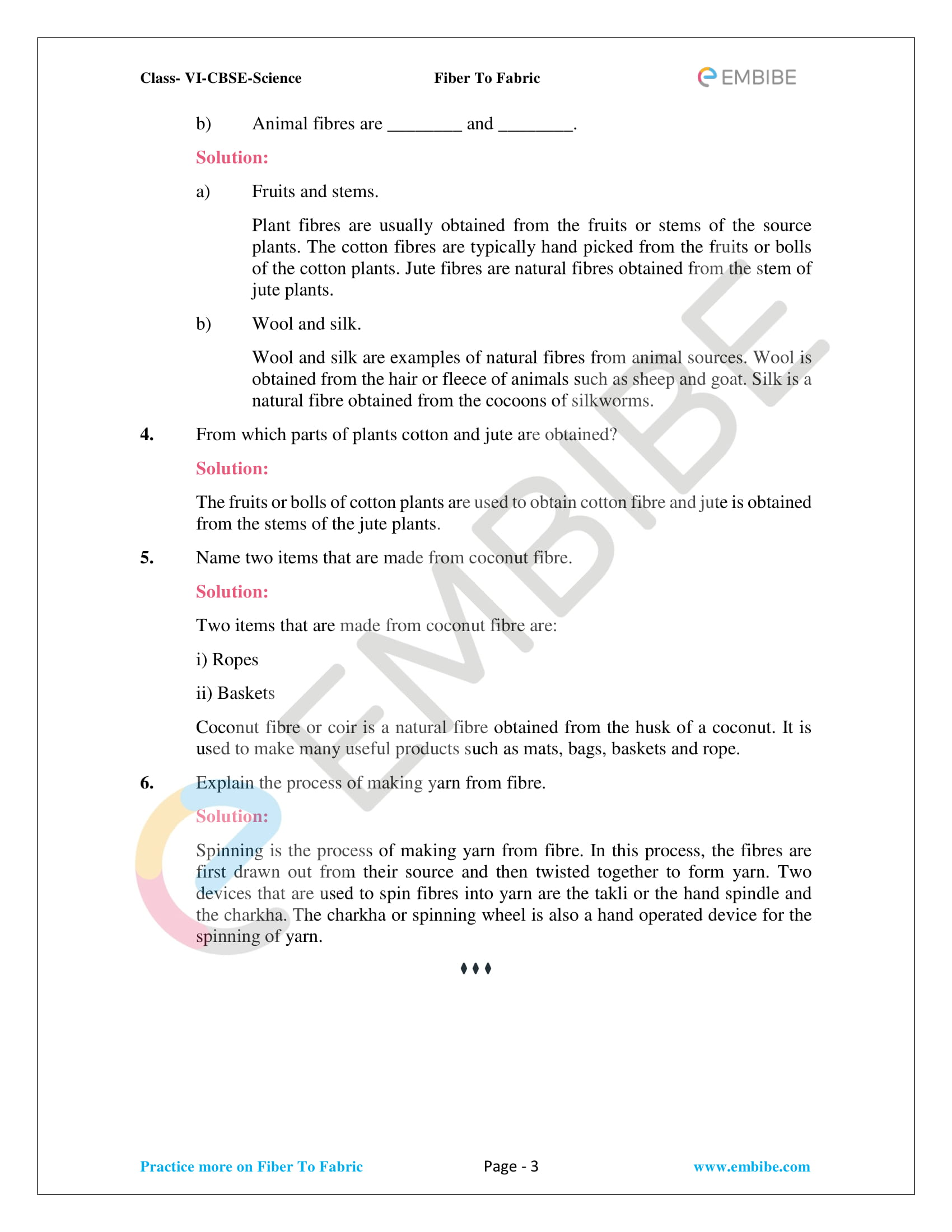 NCERT Solutions For Class 6 Science Chapter 3: Fibre To