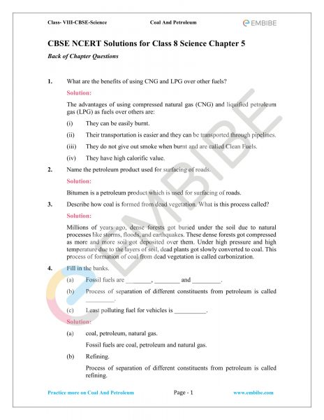 CBSE NCERT Solutions for Class 8 Science Chapter 5 PDF - Coal and Petroleum