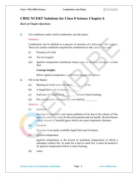 CBSE NCERT Solutions for Class 8 Science Chapter 6 PDF Download