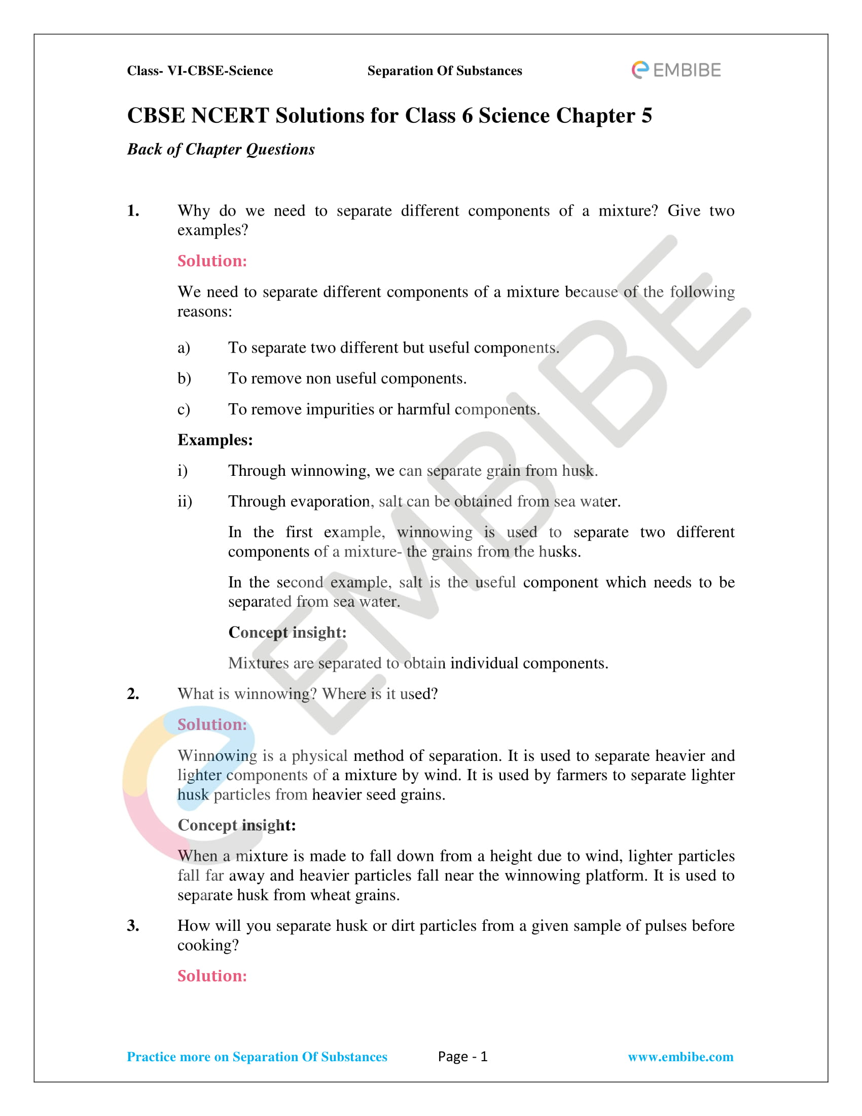 NCERT Solutions For Class 6 Science Chapter 5 - Separation Of Substances - 1