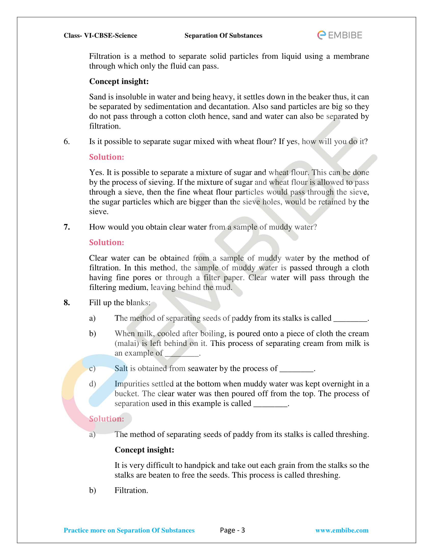 CBSE Class 6 NCERT Science Solutions Chapter 5 - Separation Of Substances - 3