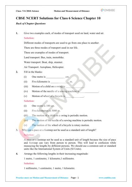 CBSE NCERT Solutions For Class 6 Science Chapter 10 PDF Download