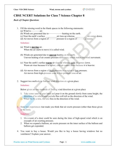 NCERT Solutions For Class 7 Science Chapter 8: Winds, Storms, and Cyclones (PDF Download)