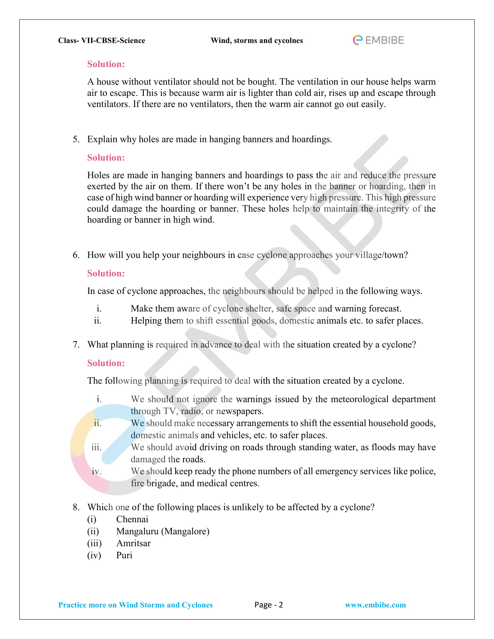 BSE NCERT Solutions For Class 7 Science Chapter 8 - Winds, storms, and cyclones - 2