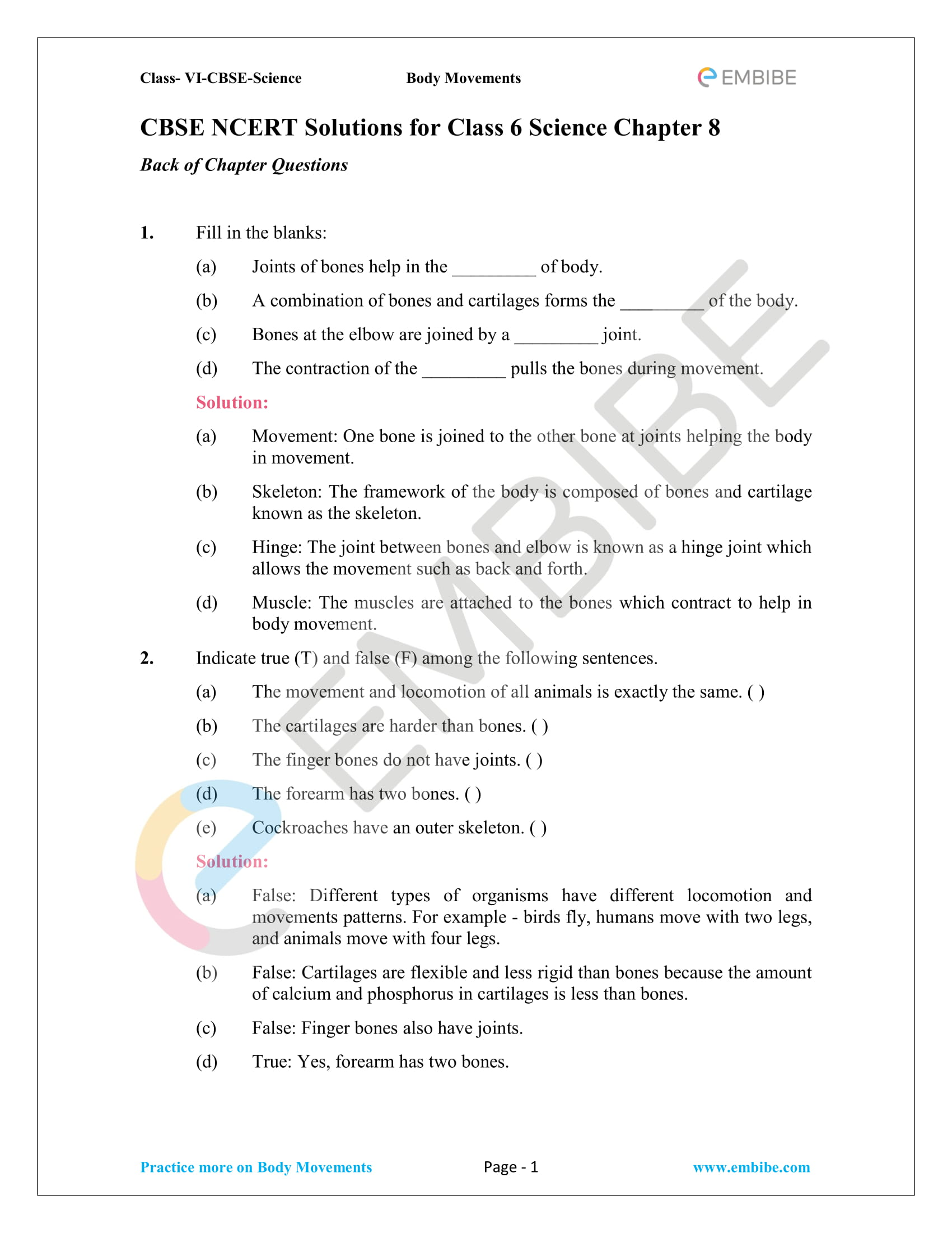 NCERT Solutions For Class 6 Science Chapter 8