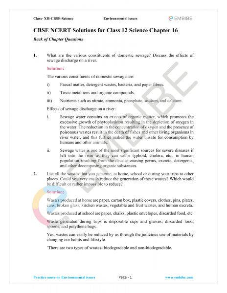 NCERT Solutions for Class 12 Biology Chapter 16 PDF Download