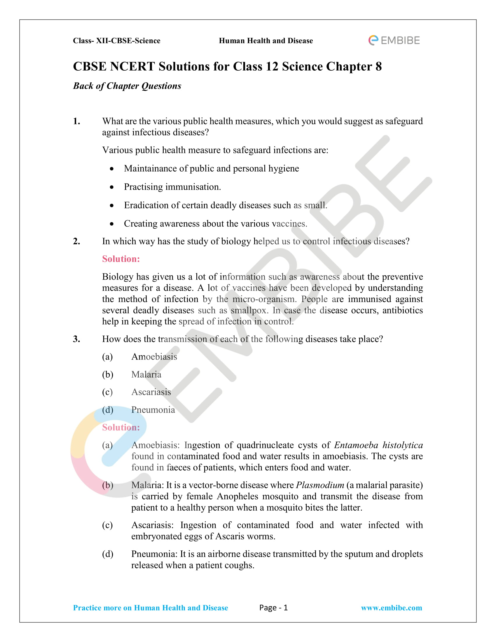 NCERT Solutions for Class 12 Biology Chapter 8: Human Health and Diseases - 1