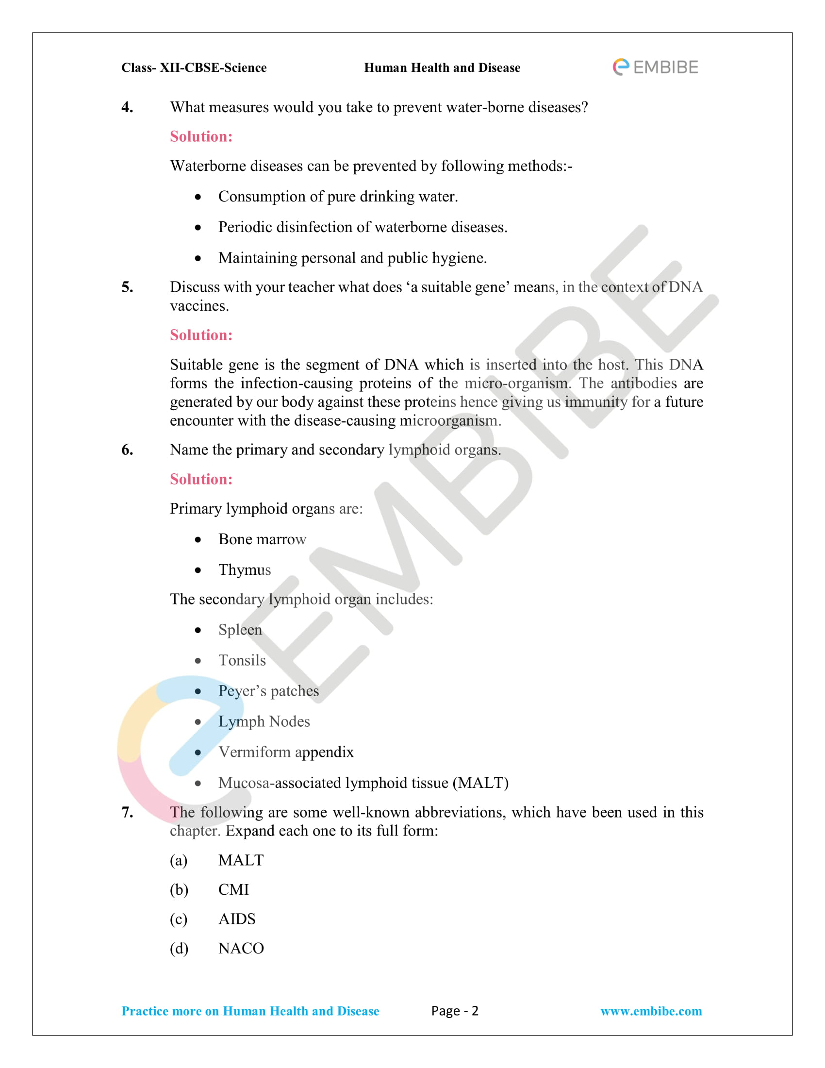 NCERT Solutions for Class 12 Biology Chapter 8: Human Health