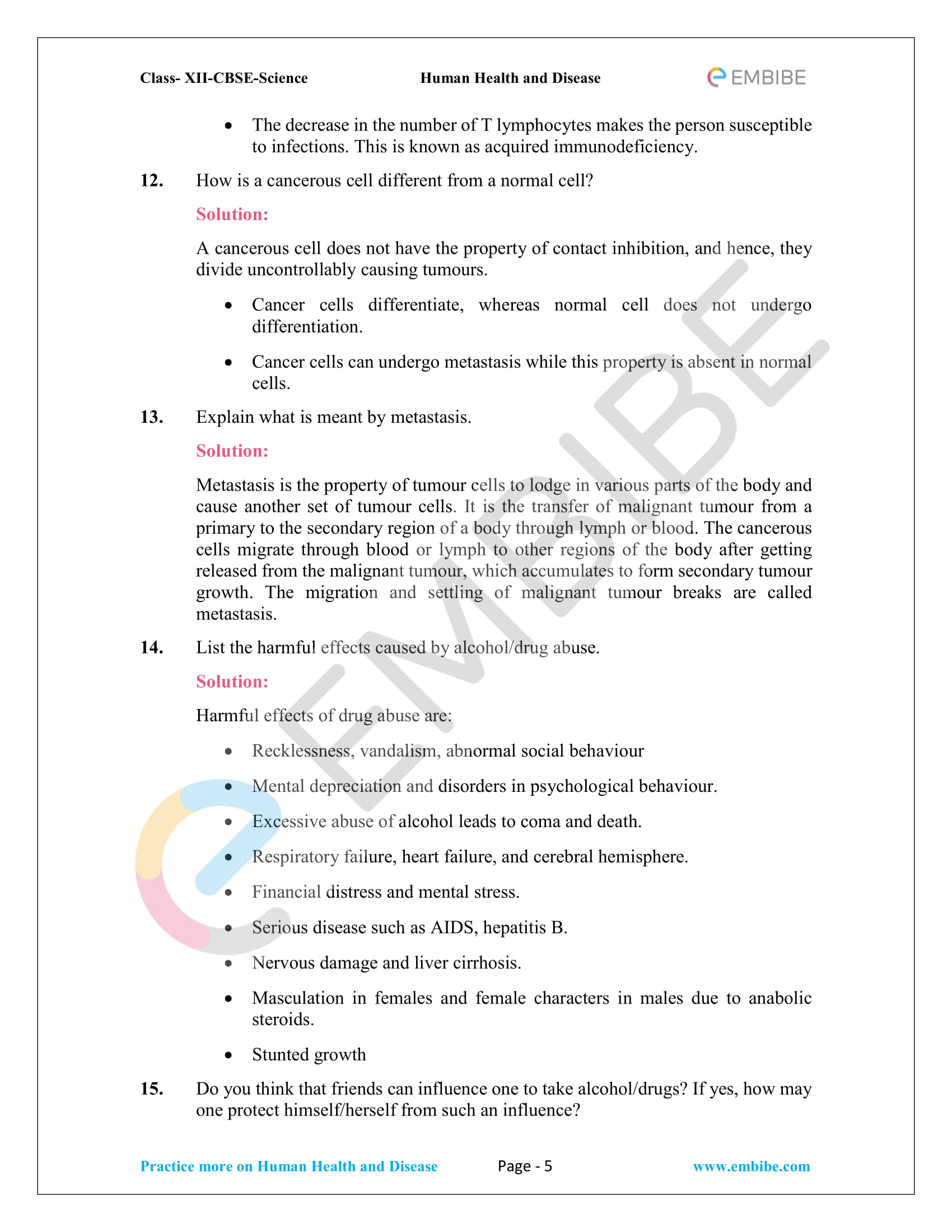 NCERT Solutions for Class 12 Biology Chapter 8: Human Health and Diseases - 5