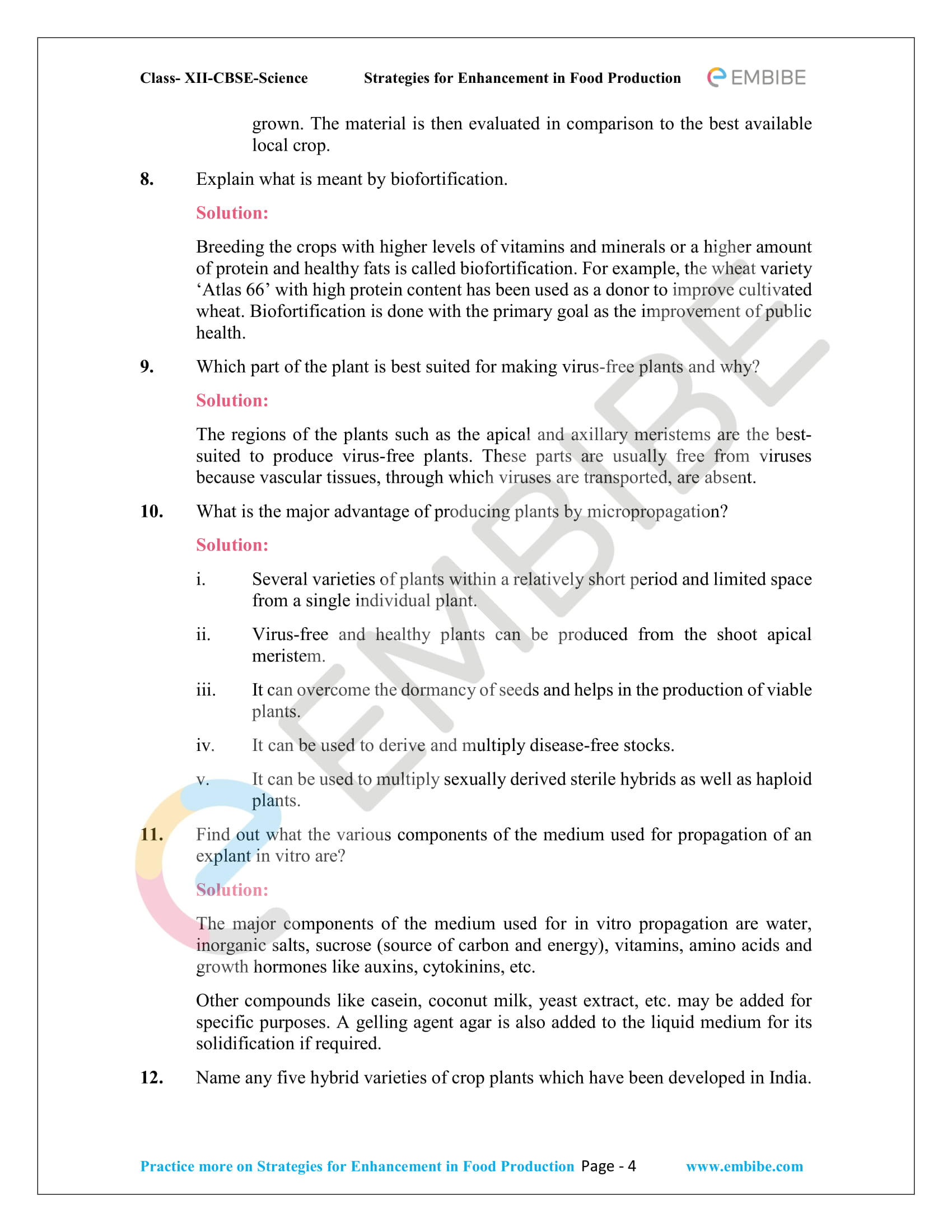 NCERT Solutions For Class 12 Biology Chapter 9: Strategies