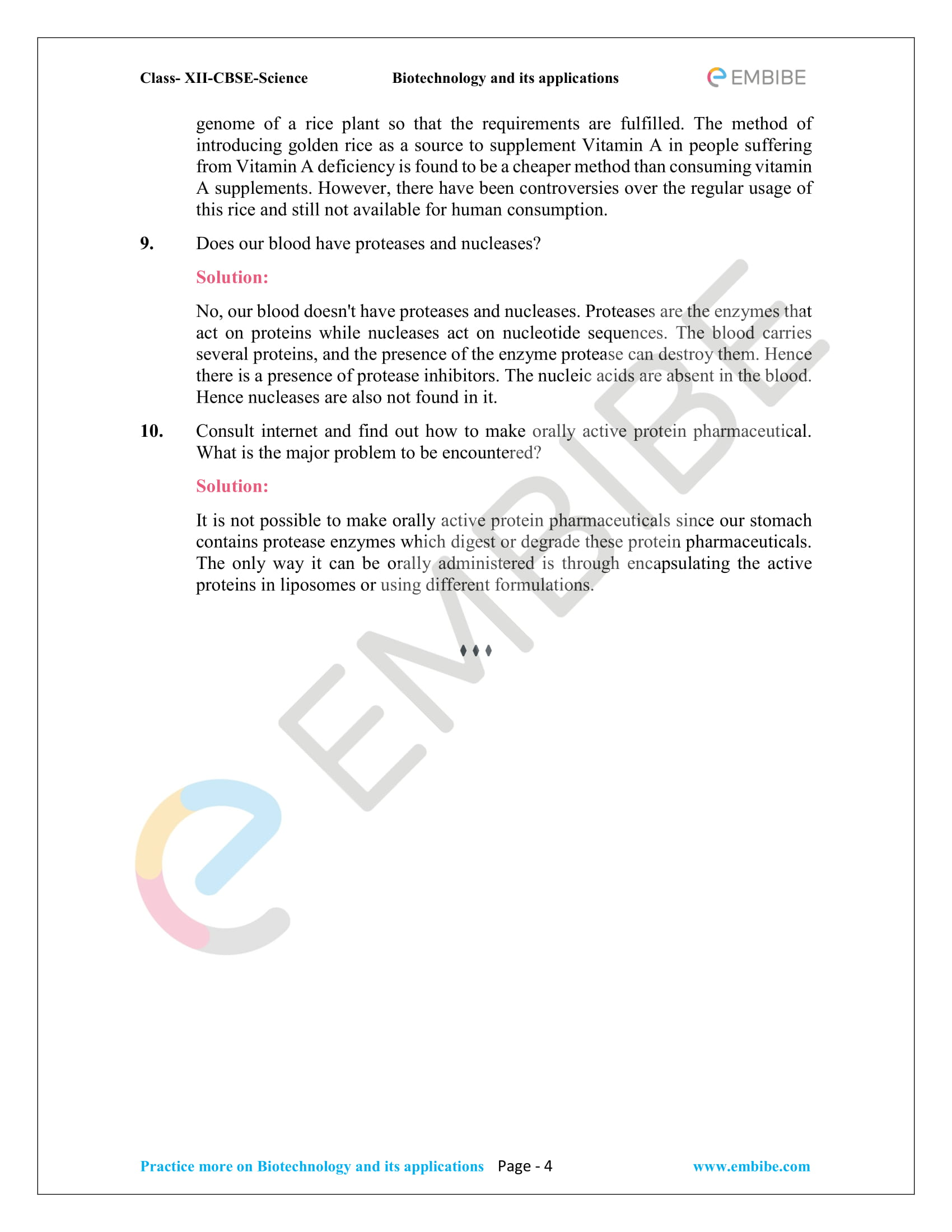 NCERT Solutions For Class 12 Biology Chapter 12