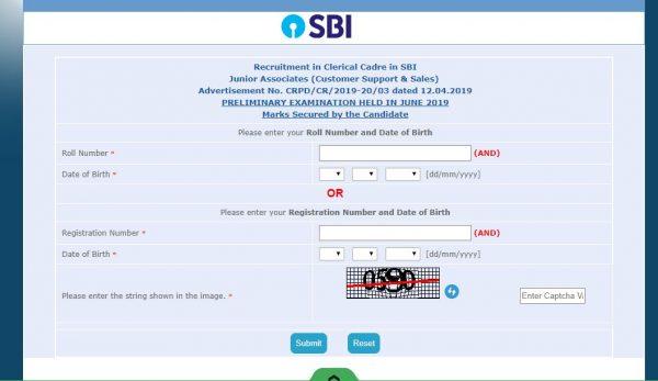 sbi-result-login-window