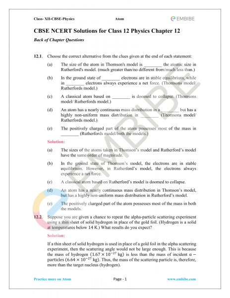 NCERT Solutions For Class 12 Physics Chapter 12 PDF: Download Atoms NCERT Solutions For Class 12