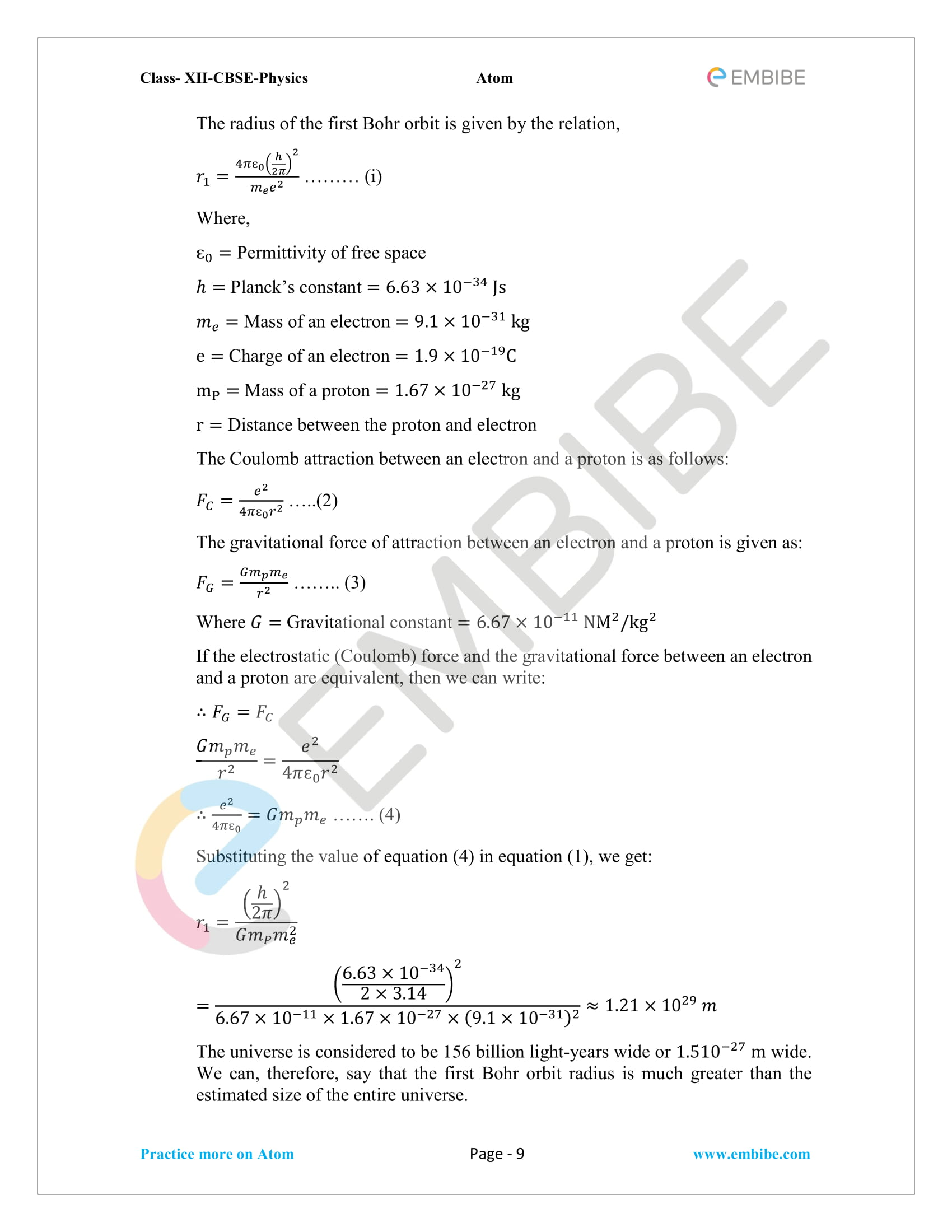 NCERT Solutions For Class 12 Physics Chapter 12 PDF: Download Atoms