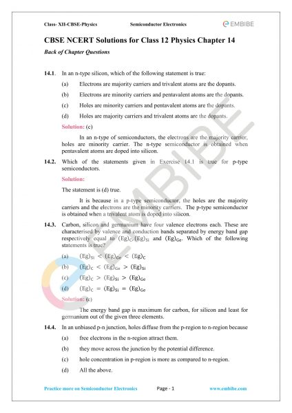 CBSE NCERT Solutions for Class 12 Physics Chapter 14 PDF – Download Semiconductor Electronics: Materials, Devices and Simple Circuits
