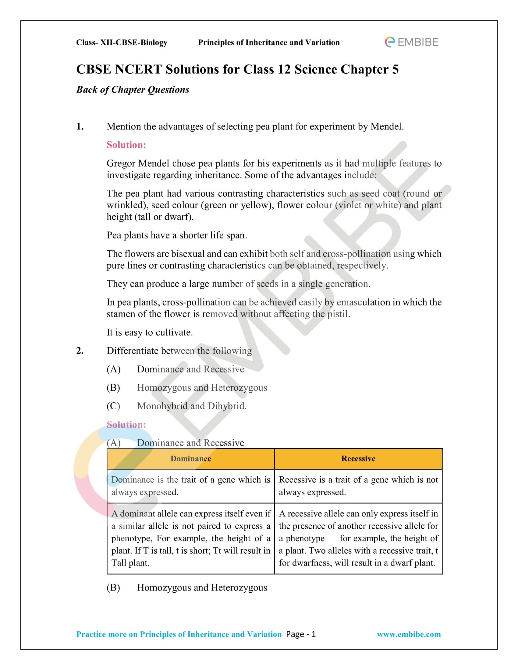 NCERT Solutions for Class 12 Biology Chapter 5: Principles Of Inheritance And Variation -1